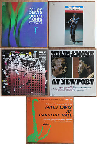 Miles Davis 5x LP from his Quintet-period 1961-1964: Miles Davis at Carnegie Hall - Quiet nights - In Europe - Jazz at the Plaza - Miles & Monk at Newport
