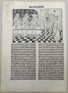 Master of Delft; Ludolphus de Saxonia - Incunabula woodcut leaf from Vitae Christie - Christ before the Pharasees - 1488