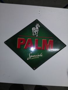Enamel advertising sign for Palm beer.
