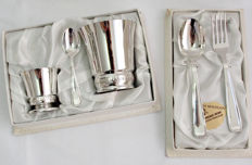 Presentation Drinking Cups And Spoon And Fork Set, French Silver Plate Early 20th Century