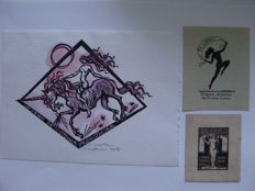 Graphic art; Lot of 50 ex-libris or bookplates and ephemera with female nudes - 1919/1992