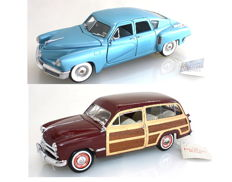 Franklin Mint - Scale 1/24 - Tucker 1948 - Blue & Ford Woody Wagon 1949 with Certificates