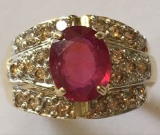 14KY Gold Ring with 2.6 ct Ruby and 0,94ct diamonds - US size 7.5