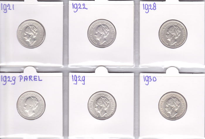 The Netherlands – ½ guilder 1921/1930 Wilhelmina (6 different ones), complete – silver