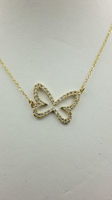 0.20 ct  diamond butterfly pendant in 14 kt yellow gold - 44cm