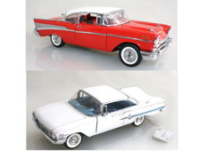 Franklin Mint - Scale 1/24 - Chevy Impala - White 1960 and Chevrolet Chevy Bel Air 1957 - Red, with Certificates