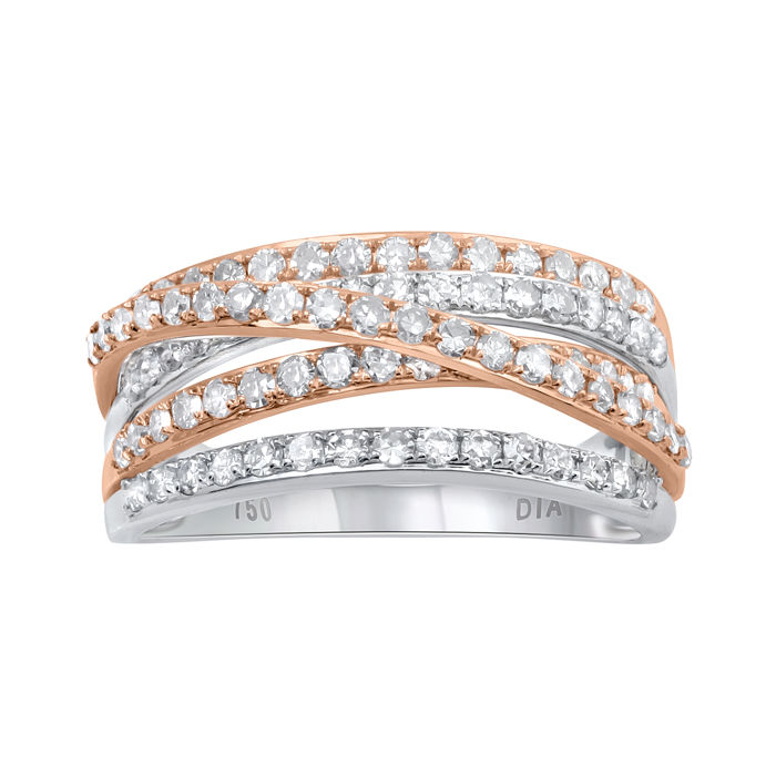 18Kt.two tone white and pink gold fashion wide band with diamonds 1.02 ct.,GH colour and P2 clarity. Ring size L/52 (Free Ring Sizing available in Antwerp)