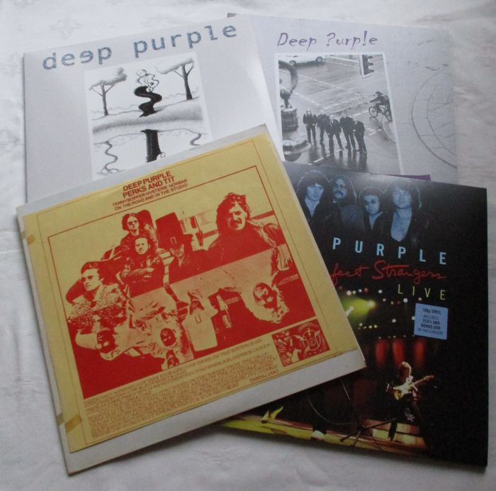 Deep Purple Rapture of the Deep a double album / Deep Purple the Now What ! Live  Tapes  a double album / Deep Purple Perfect Stranger Live a double album + Dvd + 2 cd's / Deep Purple Perks and Tit a bootleg lp
