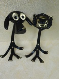 Walter Bosse – modernist vintage clothes hooks, representing a lion and a dog