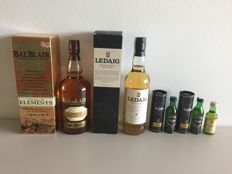 5 bottles - Balblair Elements, Ledaig Aged 7 Years, Glenfiddich 12 and Glenlivet 12