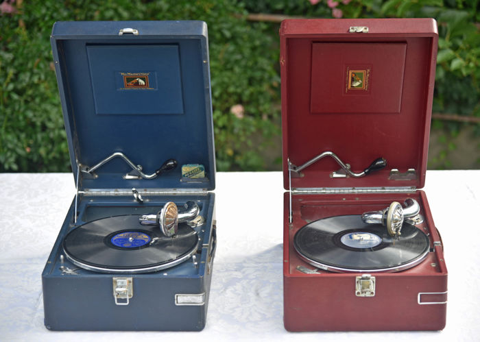 Lot of two portable gramophones His Masters Voice.