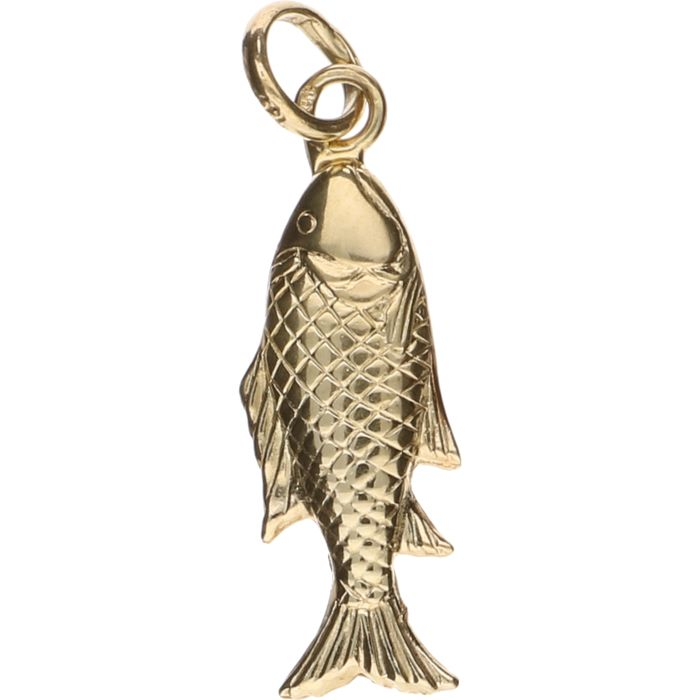 14 kt Yellow gold pendant in the shape of a fish – Length: 3.3 cm