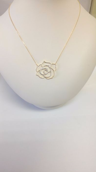 Gold necklace (18 kt) with white zircon – Length 42 cm Pendant width  4 cm, height  3 cm