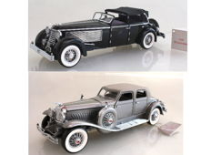 Franklin Mint - Scale 1/24 - Duesenberg SJ Convertible Town Car 1940 & Twenty Grand 1933 with Certificates