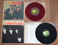 "The Beatles- Great lot of 2 Japanese pressings: Please Please Me (1st on Apple (after Odeon release) on RED ""low noise"" wax, w. alternate gatefold cover & bound-in 8-page booklet) & Meet The Beatles (in mono, w. lyric sheet!)"