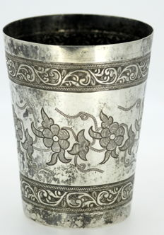 Antique silver floral engraved cup, 19th Century