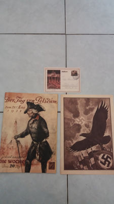 1) The day of Potsdam (Commemorative issue) 1) Large telegram German Reichspost 1935.   1) Postcard 30.01.1933 of the Reichspost