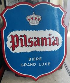 Double sided enamel plate - Pilsania Bière grand luxe - circa 1950
