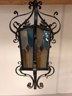 Impressive Fer Forgé hexagonal hallway lamp / lantern with stained-glass panes