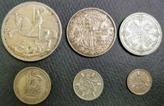 United Kingdom - 3 Pence up to and including Crown 1935 George V (6 pieces) - silver