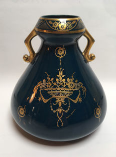 Pinon Maurice - Prussian-blue Art Deco vase with gilt floral decor