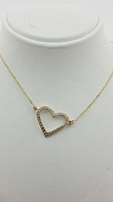 0.20 ct  diamond heart  pendant in 14 kt yellow gold - 44cm