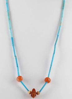 Egyptian necklace with faience beads and carnelian Duck Amulet - ca. 60cm c. 23,62