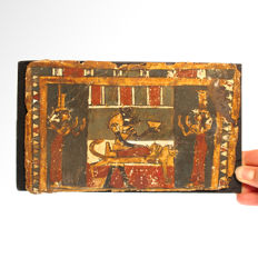 Egyptian Painted Cartonnage Panel, Ritual Embalming, 20 cm L