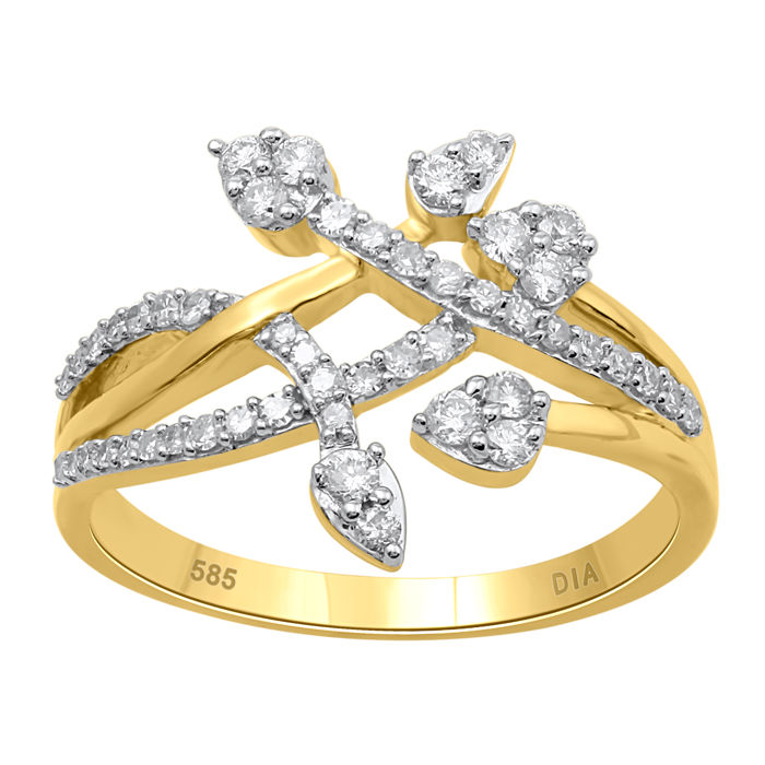 14kt yellow gold fashion designer brand new ring set with diamonds 0.50ct.,GH colour and P1 clarity. ring size Q/57 (Free Ring Sizing available in Antwerp)