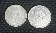 Japan - 1 Yen 1897 & 1904 (Meiji Year 30 & 37) - Lot of 2 coins - Silver