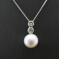 White gold, 18 kt/750 – Choker with pendant – Diamonds – Pearl – Diameter: 10.10 mm