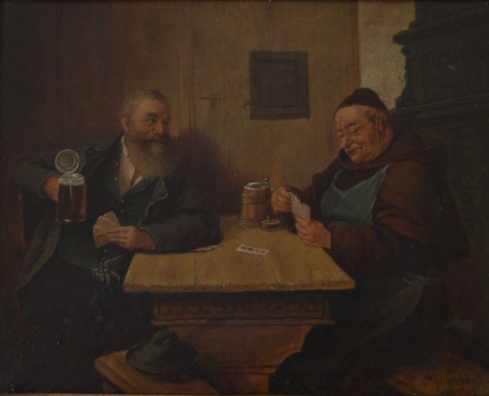 "Unknown (19Th/ 20Th Century European School ) -""The Friendly Game of Cards"" Oil on Board"
