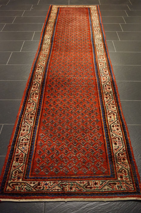 Magnificent hand-knotted oriental carpet Sarough Mir runner 85 x 340 cm made in Iran rug