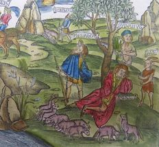 From the Sebastian Brandt EditionBrandt - Virgil -  Gallus Pan Sylvanus Lucoris - 1502