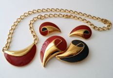 MONET Gold Plated Necklace Brooch Earrings Set