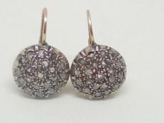 Vintage patch earrings in gold and rose cut coronet diamonds (2 ct)
