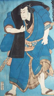 Original woodblock print by Utagawa Kunisada (1786-1865) - Actor Bando Hikosaburo as a Sumo wrestler - Japan - 1861