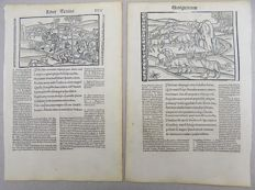 2 Incunabula woodcut leaves depicting Virgil's Georgics - Husbandry Agriculture Fertility Well -1502