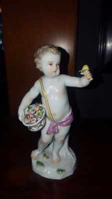 Meissen - porcelain sculpture Putto, 4 station 'Spring'