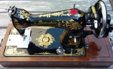 Beautiful Lewenstein sewing machine with original wooden cover, Netherlands, 1960s