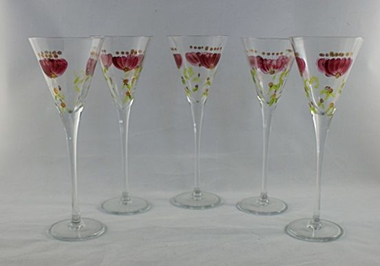 Five liqueur glasses