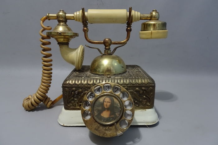 Old decorative phone Mona Lisa