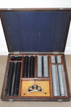 Optometrist Vision trial set in wood case, Theodore Hamblin Ltd, London, Ca 1910