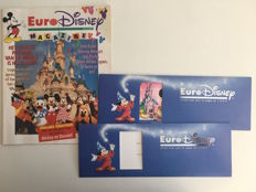 Euro Disney - 2 unused Passeports Commémoratifs + Euro Disney magazine - sc (1992)