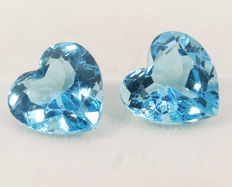 2 (pair) swiss blue topazes –  6,05 ct total No Reserve Price