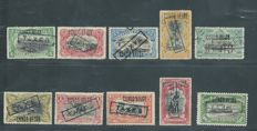 Belgian Congo 1908, OBP TX7 - TX16 surcharge stamps