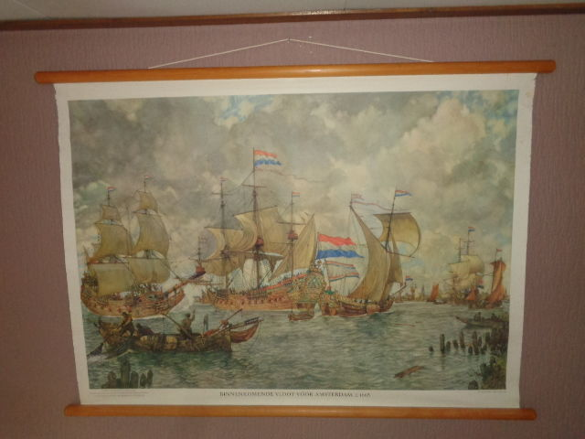 "Old school poster ""Incoming fleet for Amsterdam +/-1665"""