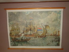 """Old school poster """"Incoming fleet for Amsterdam +/-1665"""""""