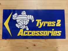 Michelin Tyres & Accessories - Vintage Original Metal Garage Sign - Approx 57 cm x 26.5 cm