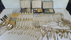 A quantity of plated cutlery and other items